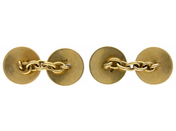 Guilloche Enamel 18ct Gold Cufflinks