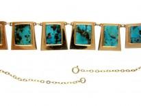 Turquoise Matrix Art Nouveau Necklace