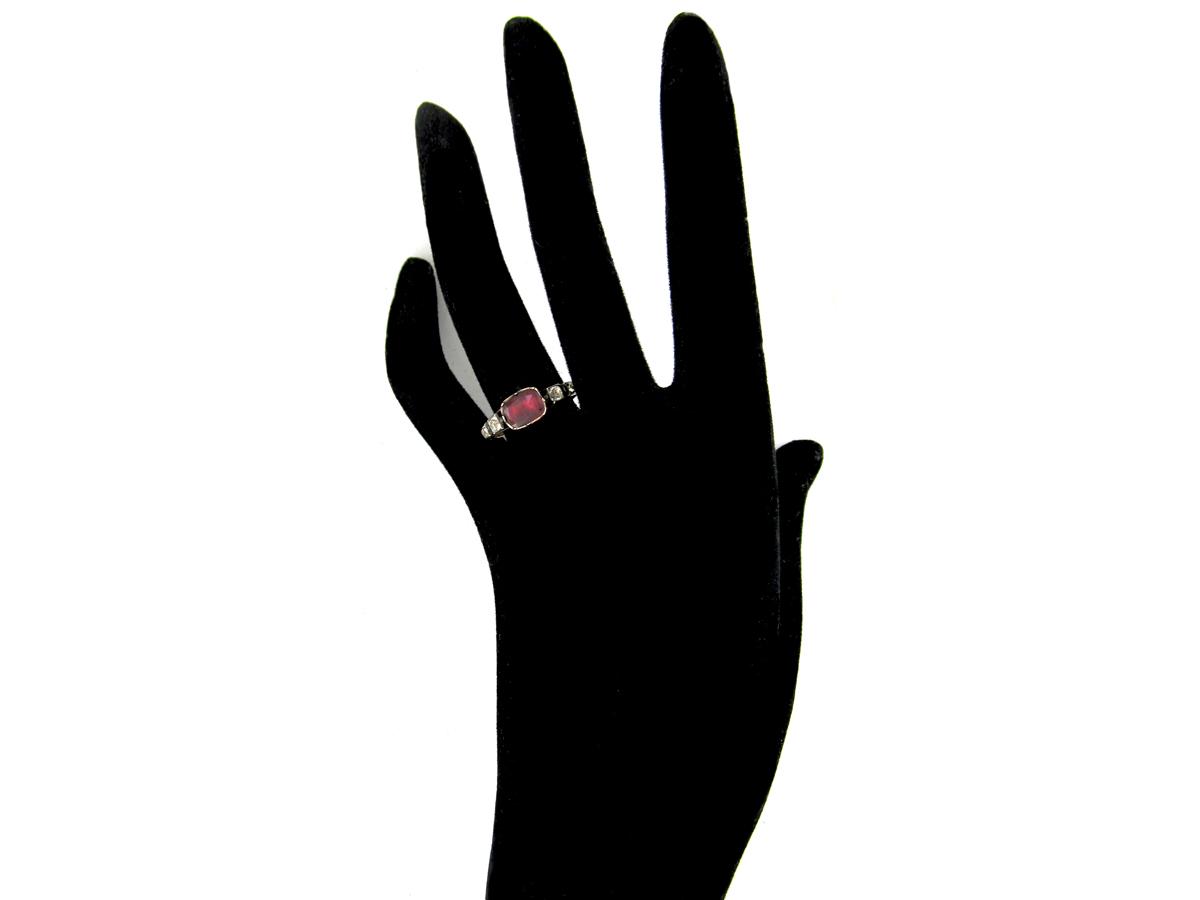 Georgian Flat Cut Almandine Garnet & Paste Ring