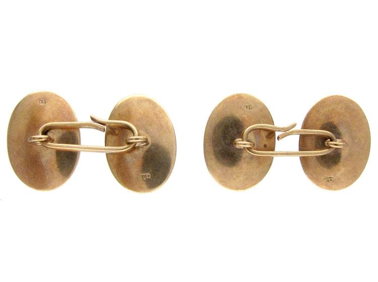 Amethyst Cabochon Gold Cufflinks