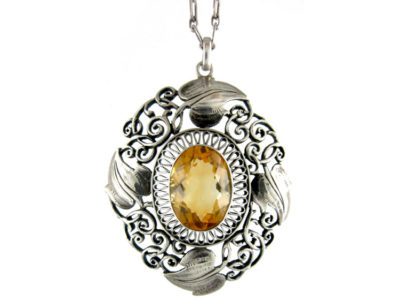 Art Nouveau Silver & Citrine Pendant on Silver Chain by Theodor Fahrner