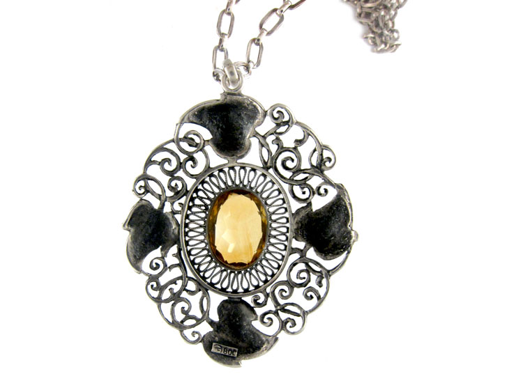 Art Nouveau Silver & Citrine Pendant on Silver Chain by Theodor Fahrner