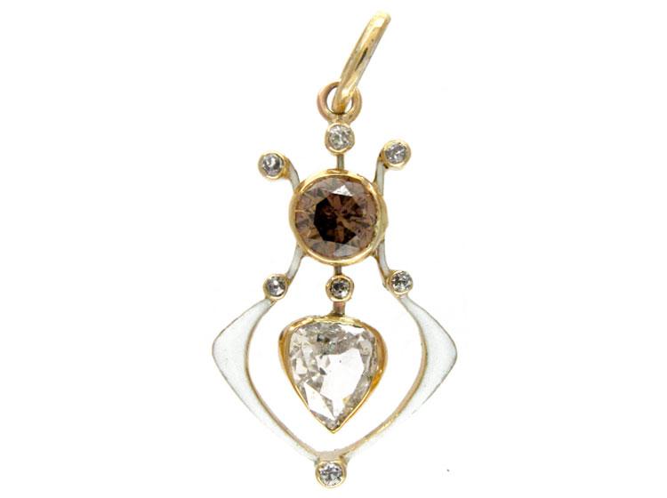 Diamond & White Enamel Pendant