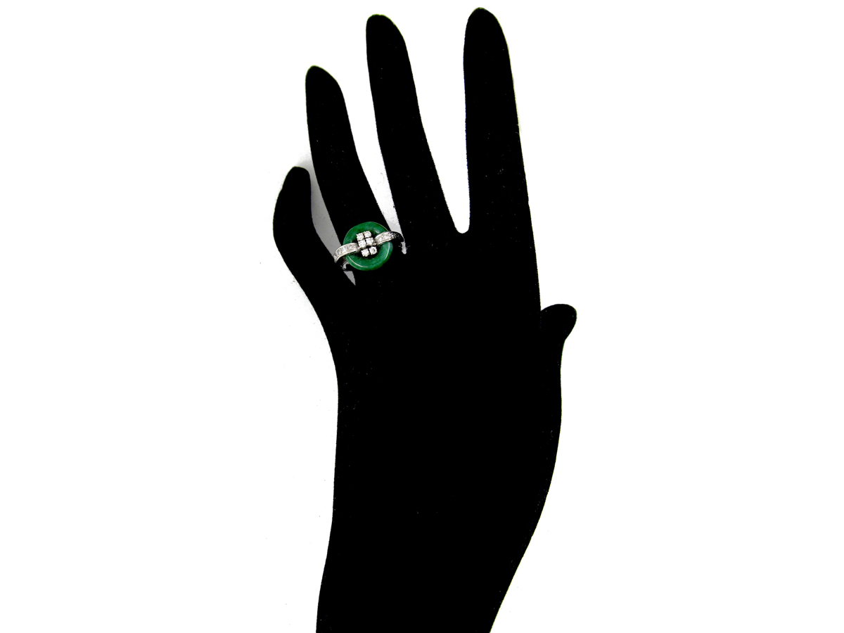 Jade & Diamond Art Deco Ring