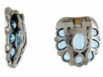 Pair Silver & Paste Art Deco Clips