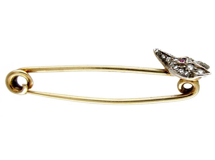 Diamond Fox Head Tie Pin