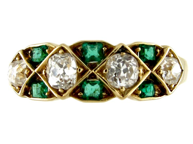 Emerald & Diamond Edwardian Ring