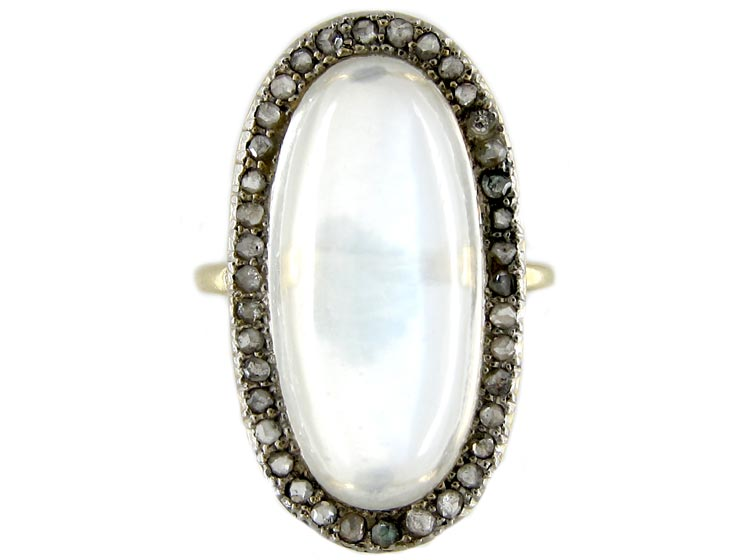 Large Moonstone & Diamond Ring