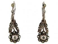 Marcasite Flower Drop Earrings