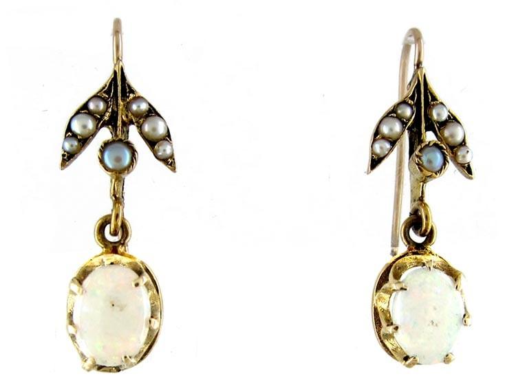 Opal Pearl Gold Drop Earrings