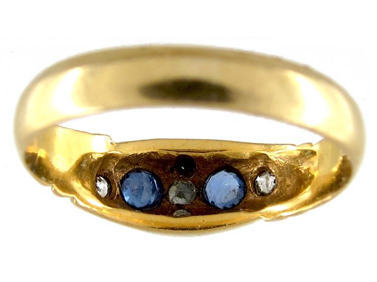 Sapphire & Diamond Gypsy Ring