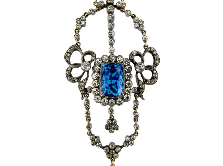 Edwardian Blue & White Paste Pendant