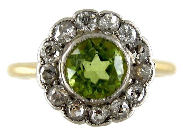 Peridot & Diamond Cluster Ring