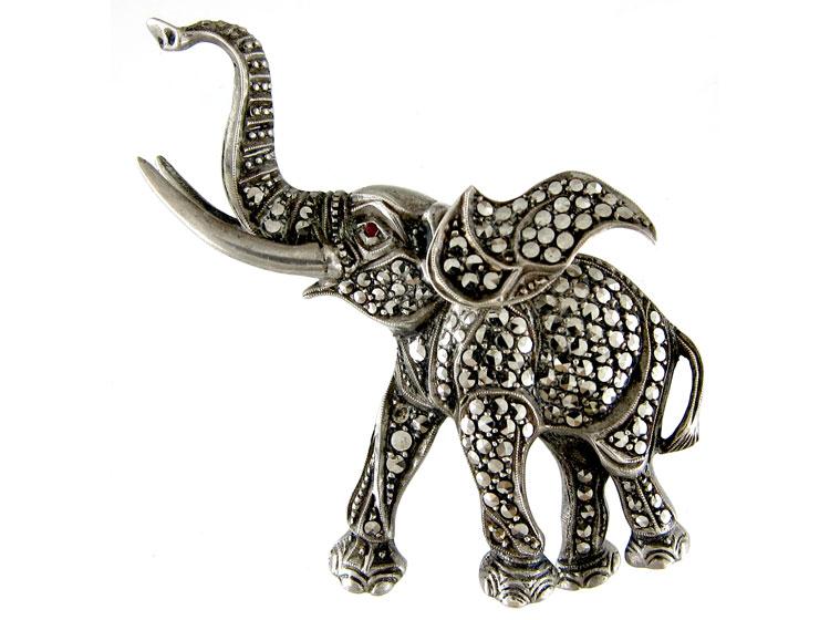 Silver & Marcasite Elephant Brooch