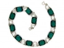 Green & White Paste Silver Necklace