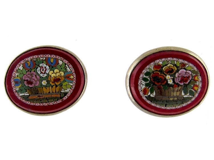 Micro Mosaic Silver Earrings
