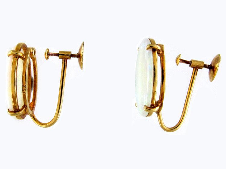 Retro Opal Gold Earrings