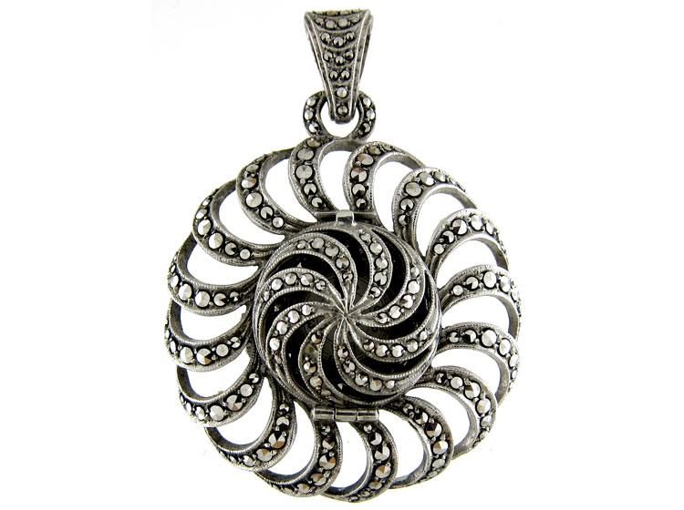 Silver Marcasite Watch Pendant