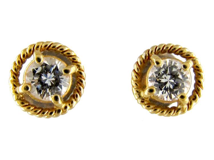 Gold & Diamond Stud Earrings