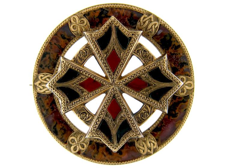 Scottish Gold Agate Brooch