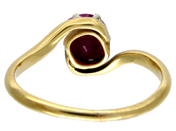 Pink Sapphire Art Nouveau Ring