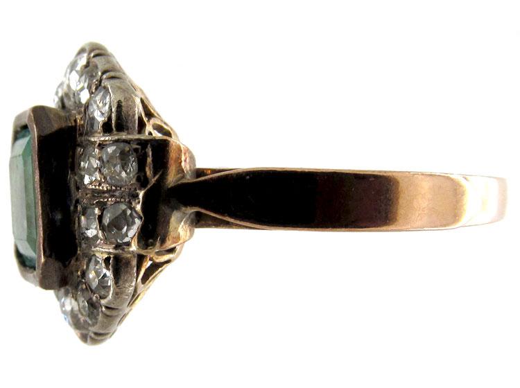 Columbian Emerald & Diamond Art Deco Ring