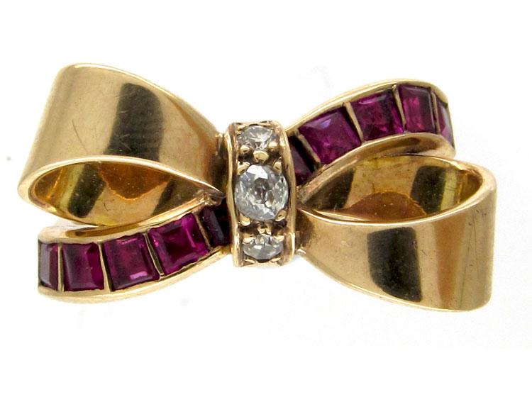 Ruby & Diamond Bow Ring