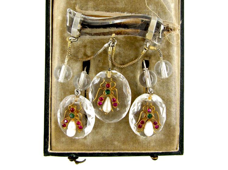 Rock Crystal Victorian Earrings & Brooch Set