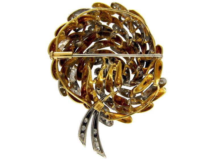 Swirly 1950s Sapphire & Diamond 18ct Gold Brooch