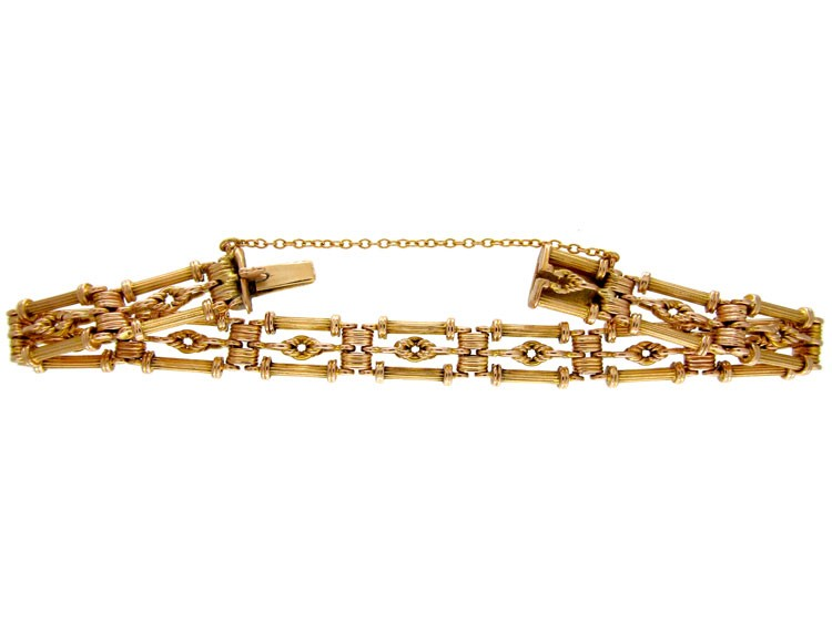 15ct Gold Fancy Link Edwardian Gate Bracelet