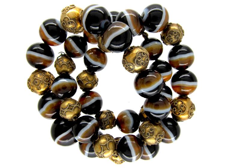 Onyx & Silver Gilt Bead Necklace