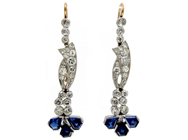 Burma Sapphire & Diamond Edwardian Drop Earrings