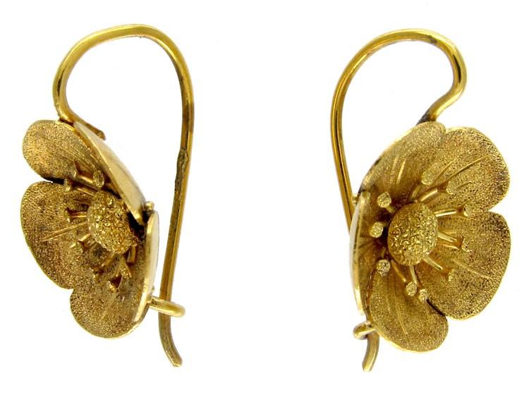 Victorian 15ct Gold Daisy Earrings