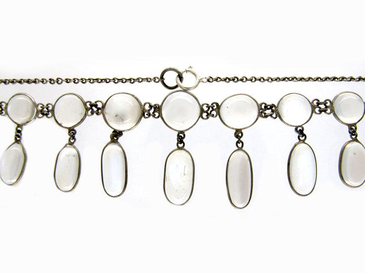 Silver & Moonstone Drops Necklace