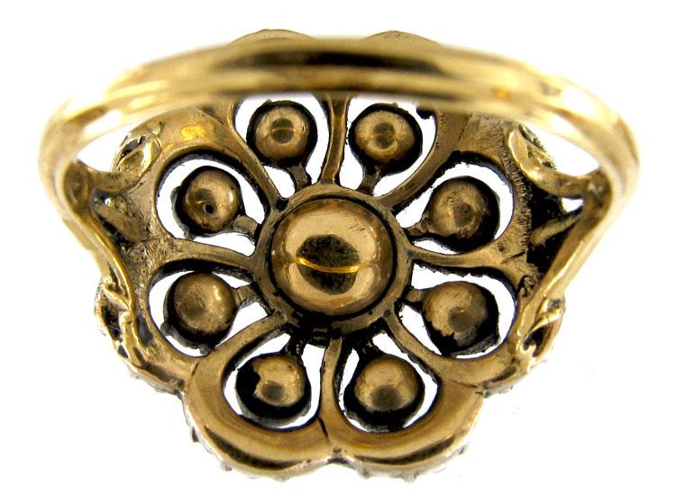 Georgian Gold & Old Mine Cut Diamond Cluster Ring