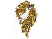 Sapphire & Diamond Floral Swag Brooch