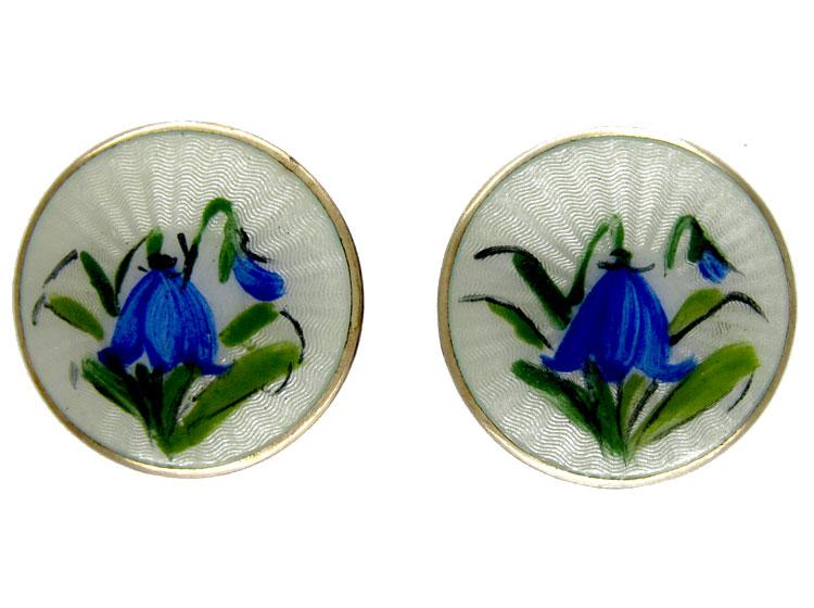 Silver & Enamel Gentian Earrings