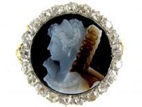 Carved Hardstone Cameo Diamond Ring