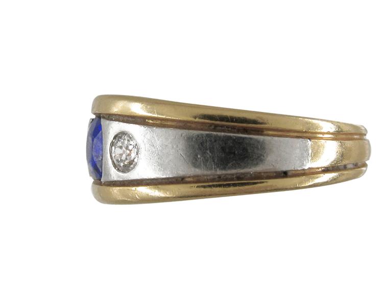 Sapphire & Diamond Platinum Gold Band