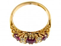 Three Stone Ruby & Diamond Ring