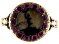 Georgian Ruby & Figured Moss Agate Ring