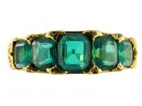 Victorian Five Stone Columbian Emerald Ring
