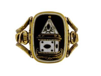 Enamel Mourning Flip Over Ring with Urn