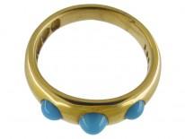 Three Stone Turquoise Victorian Ring