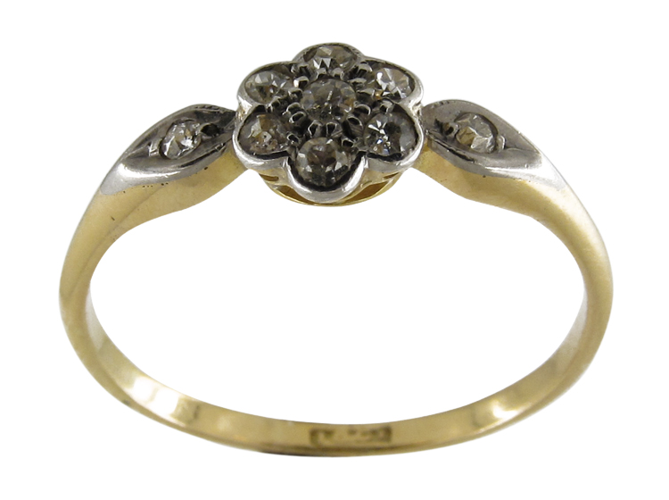Small Diamond Cluster Ring with Diamond Shoulders