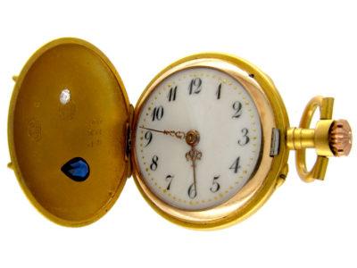 Sapphire & Diamond 14ct Gold Hunter Watch