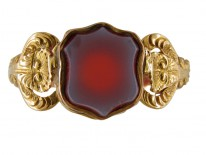Banded Agate Shell Sided Signet Ring