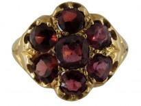 Edwardian Garnet Cluster Gold Ring