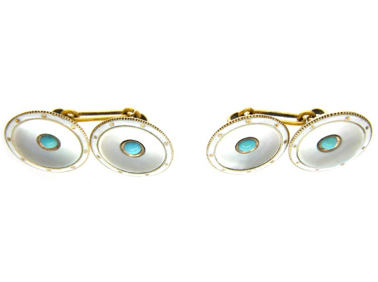 15ct Gold & Mother of Pearl & Turquoise Cufflinks