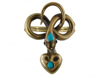 Victorian Gold Turquoise Snake Ring with Ruby Eyes